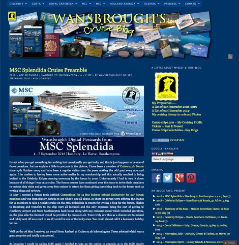 Splendida Blog page