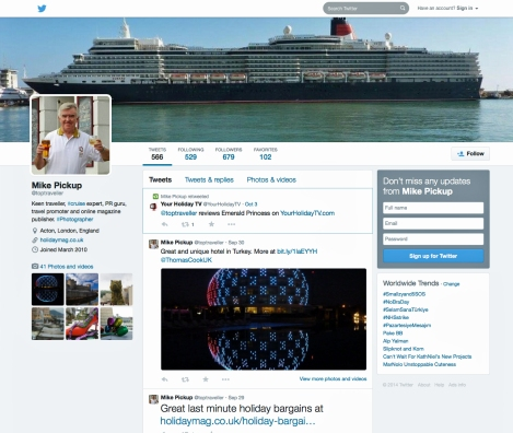 Toptraveller Twitter page cruise expert