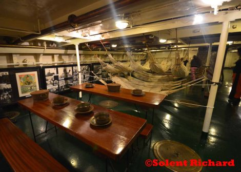 George Averof mess deck with Hammocks